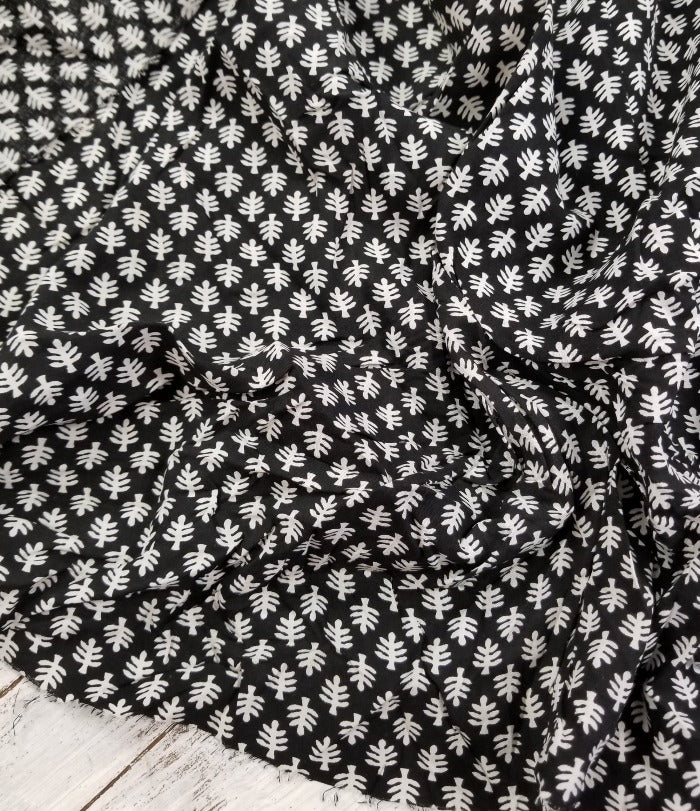 End of Bolt: 1-7/8th Yards of Begonia Fern Black Small Print Rayon Challis Woven-Remnant