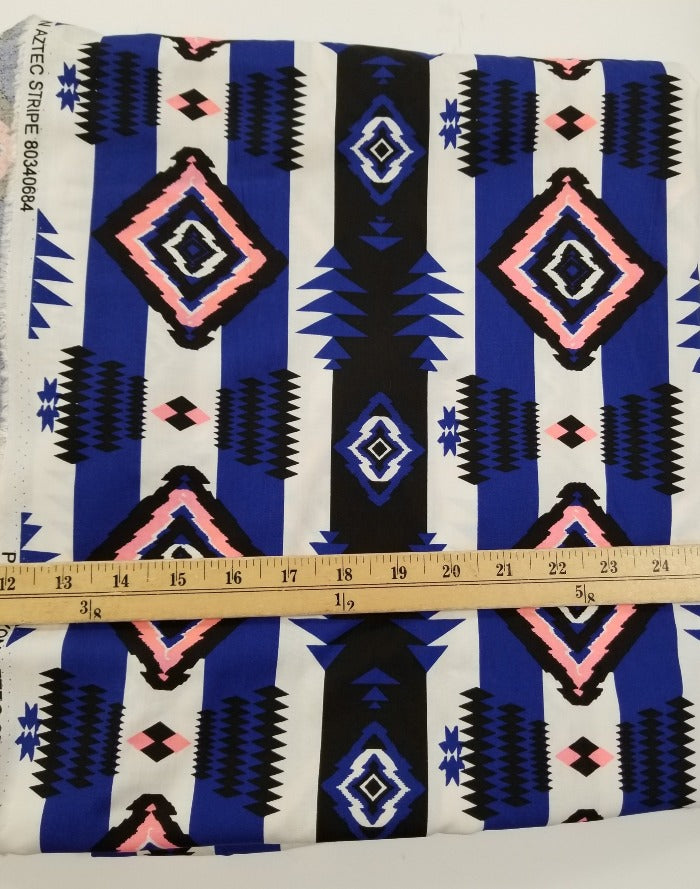End of Bolt: 2-5/8th Yards of Designer Rayon Aztec Stripe Challis