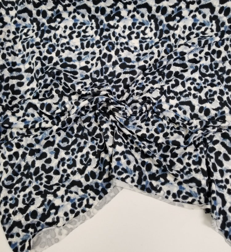 Double Brushed Animal Print Ivory, Blue ,and Gray Knit- By the Yard