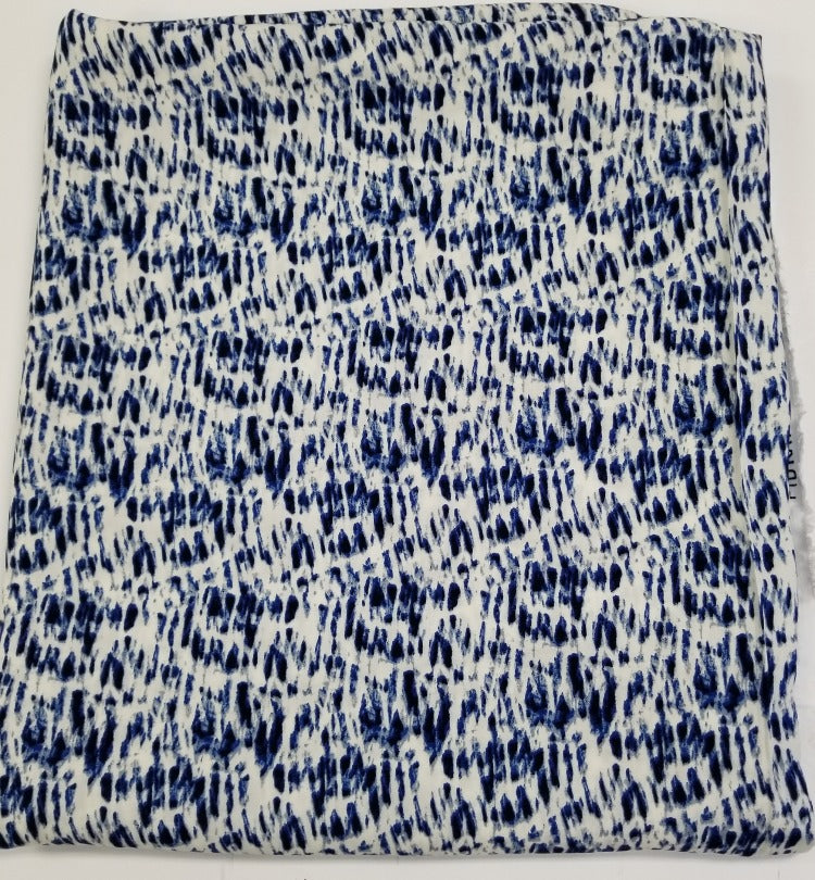 End of Bolt: 7/8th yards of Blue Culver Rayon Challis Woven- remnant