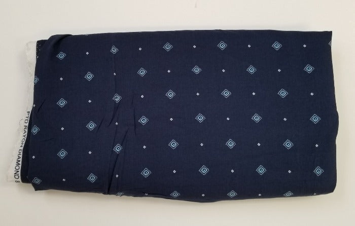 End of BOlt: 4 yards of Cipriana Navy Diamond Rayon Challis Woven- Remnant