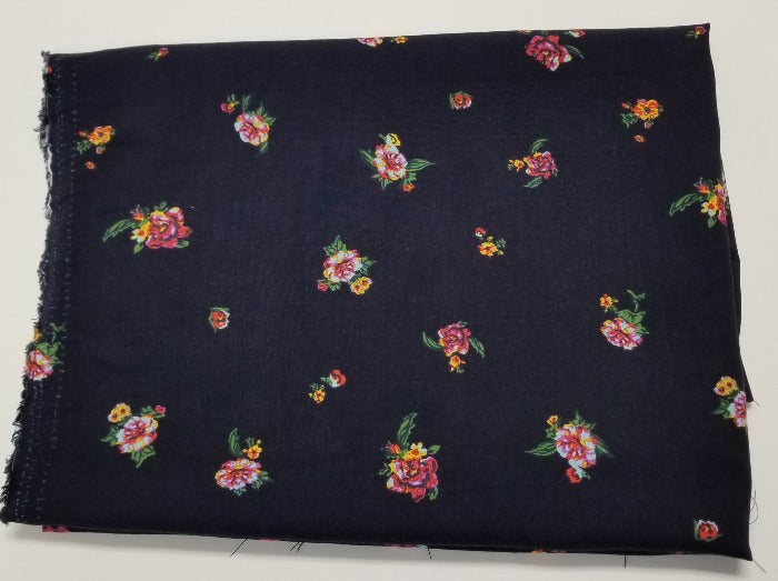 End of Bolt: 5 yards of Famous Maker  Small Scale Dark Navy Floral Rayon Challis- remnant