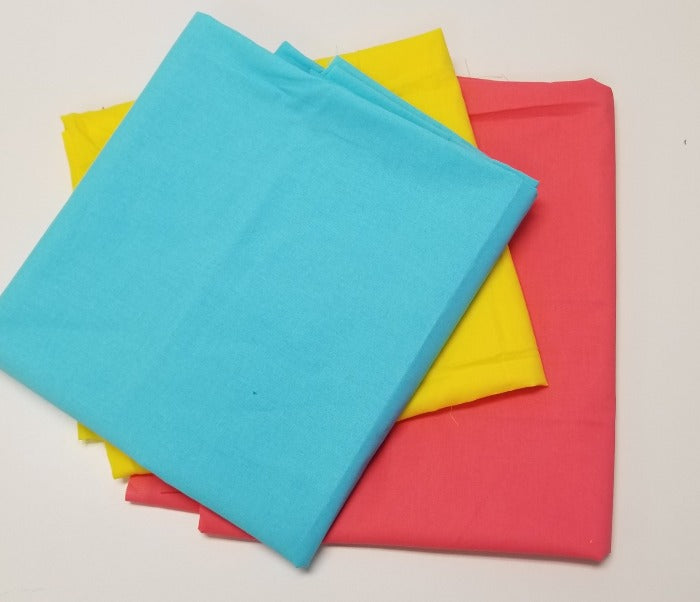 Case Pack: 4-1/4th yards of 100% Cotton Solids- As Pictured