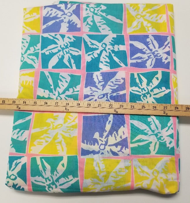End of Bolt: 2-1/8th yards of Summer Retro Palm Trees Cotton Woven- Remnant