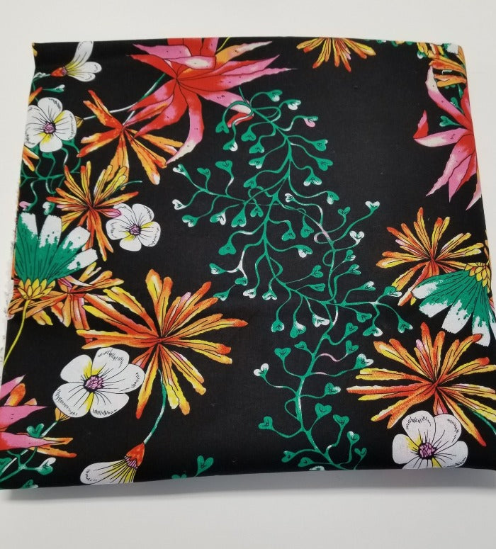 End of Bolt: 3-3/8th yards of Black Tropical Floral San Juan Cotton Linen Woven- Remnant