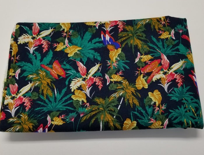 End of Bolt: 4 yards of Navy Tropical Butterflies Cotton Linen Woven-Remnant