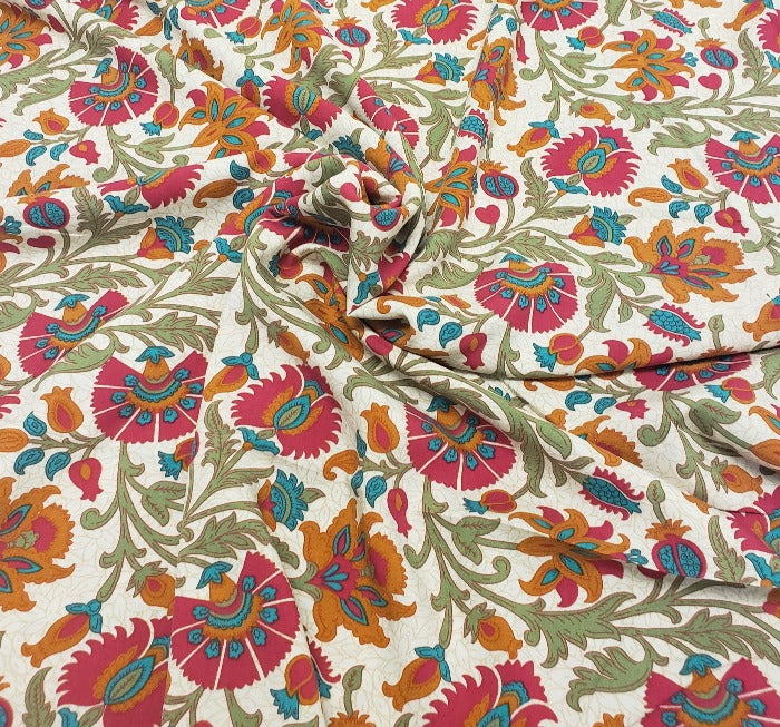 End of Bolt: 3/4th yard of Designer Carolyn Folklore Border Rayon Challis Woven- remnant