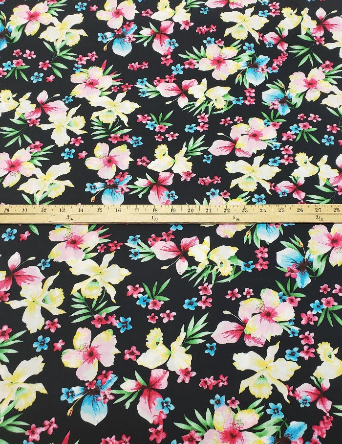 Designer Malea Hibiscus Rayon Challis Woven- Sold by the yard