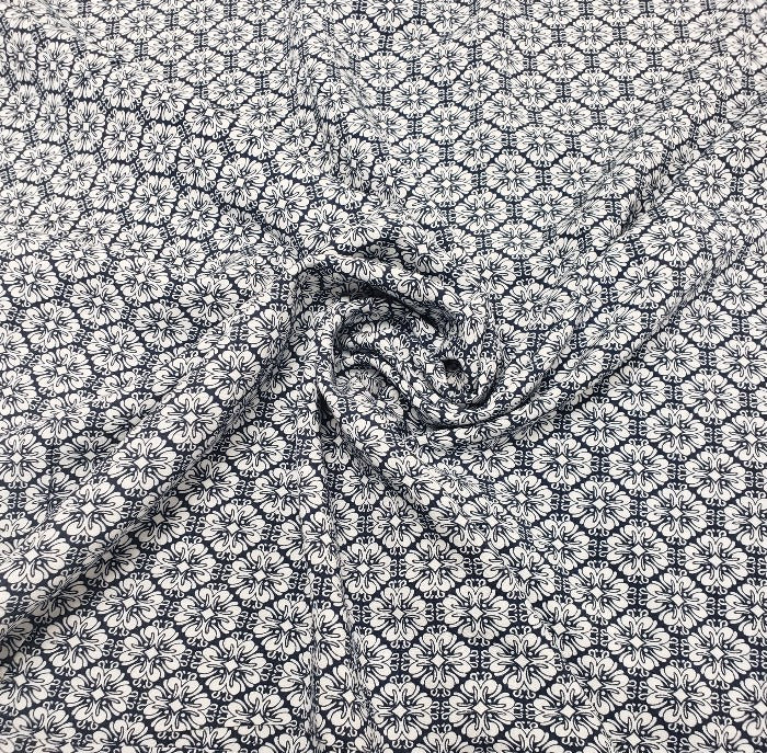 End of Bolt: 3/4th yard of Colleen Navy Rayon Challis Woven- Remnant