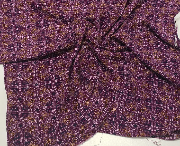 End of Bolt: 2-1/8th Yards of Lucienne Rayon Challis Woven- Remnant