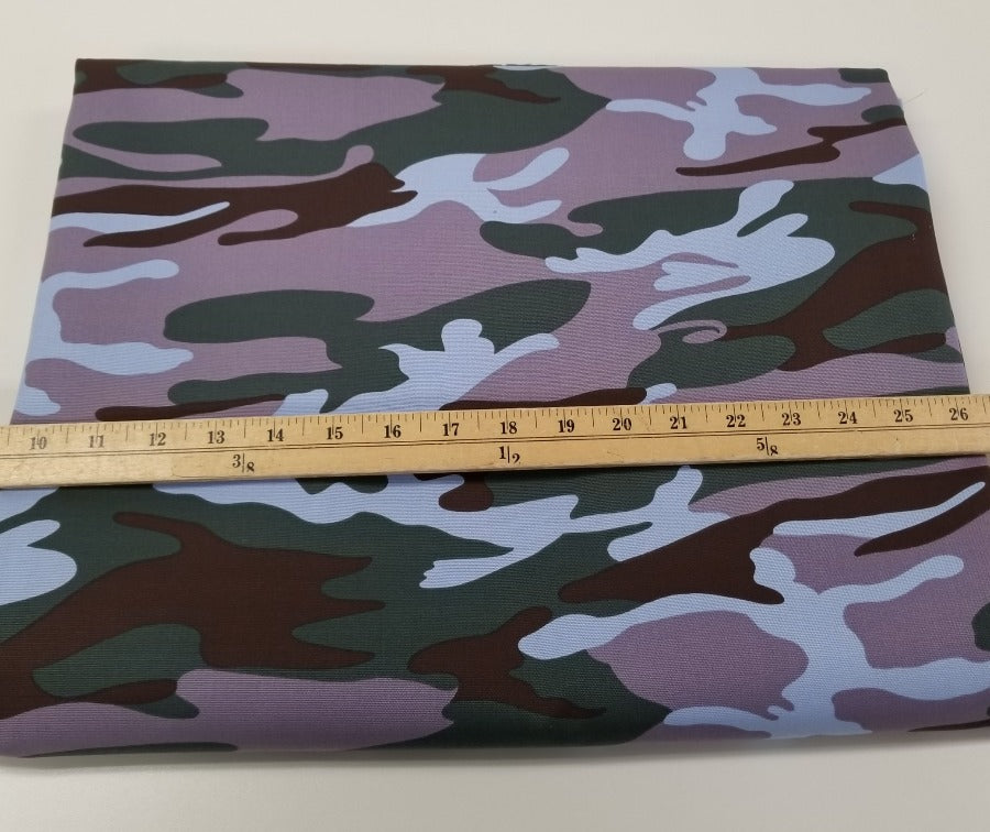 Designer Camouflage Violet and Hunter Green Cotton Canvas Woven- Made in the USA- By the Yard
