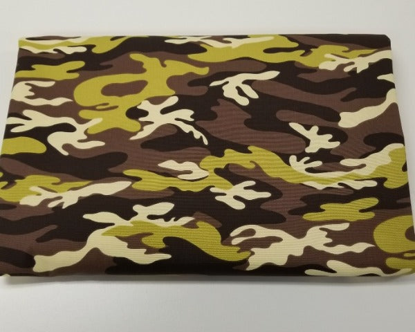 Designer Camouflage Brown and Green Cotton Canvas Woven- Made in the USA- By the Yard