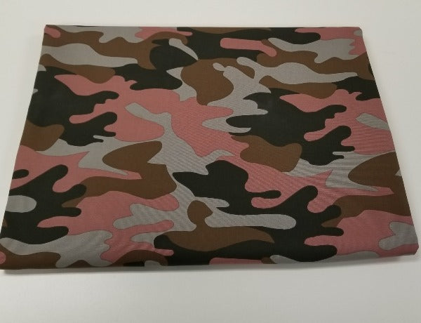 Designer Camouflage Dusty Rose Cotton Canvas Woven- Made in the USA- By the Yard