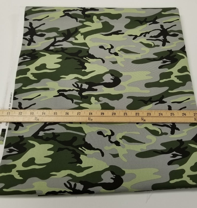 Designer Camouflage Grey and Green Cotton Canvas Woven- Made in the USA- By the Yard