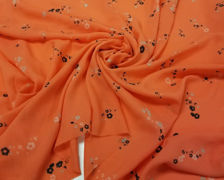 Designer Small Floral Dark Coral Rayon Voile- By the yard