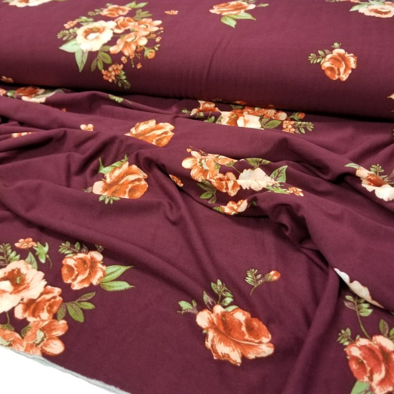 Double Brushed Fashion Burgundy Floral Knit- By the yard