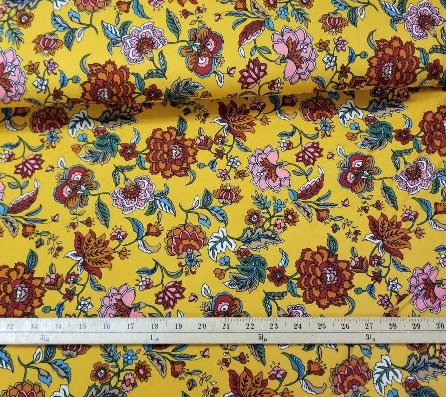 Double Brushed Yellow Floral Poly Spandex Knit- By the yard