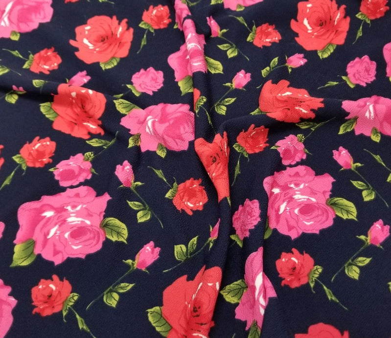 End of Bolt: 2.5 yards of Fashion Liverpool Garden Party Roses Navy Knit Print- remnant