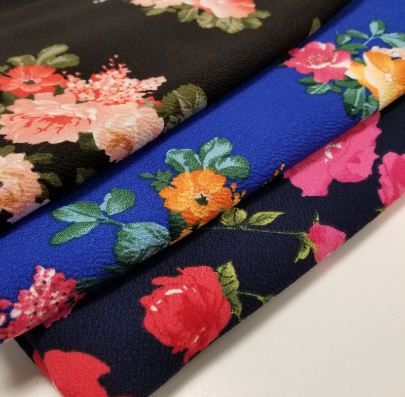 End o Bolt: 2.5 yards of Fashion Liverpool Royal Floral Knit- remnant