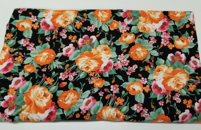 Double Brushed Poly Spandex Arcadia Orange Floral Knit- By the yard