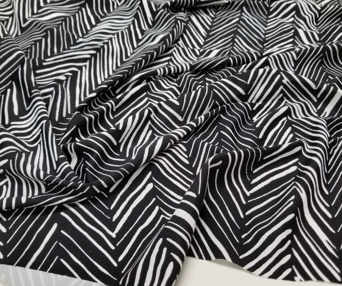 Designer Francoise Black and White Abstracta Swim/Performance Wear Knit-By the yard