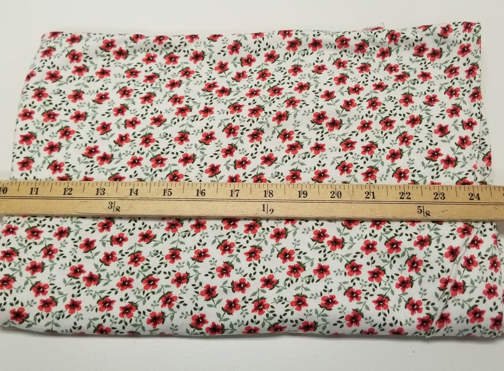 End of Bolt: 2-1/4th yards of Double Brushed Small Ditzy Floral Knit- remnant