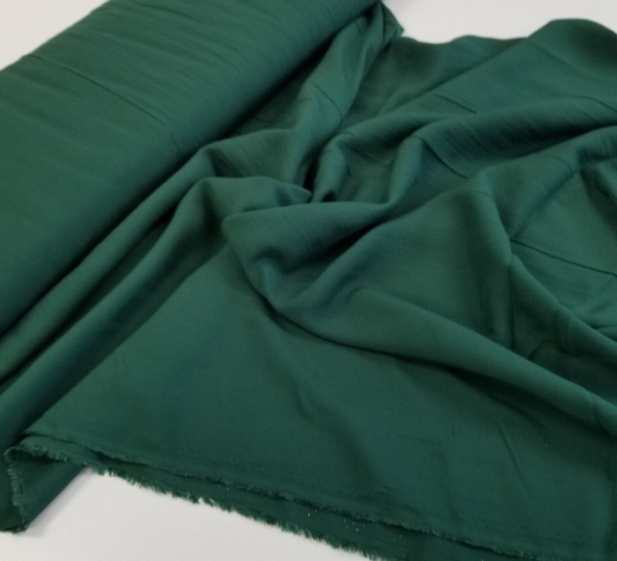 Fashion Hunter Green Rayon Challis Solid Woven- By the yard