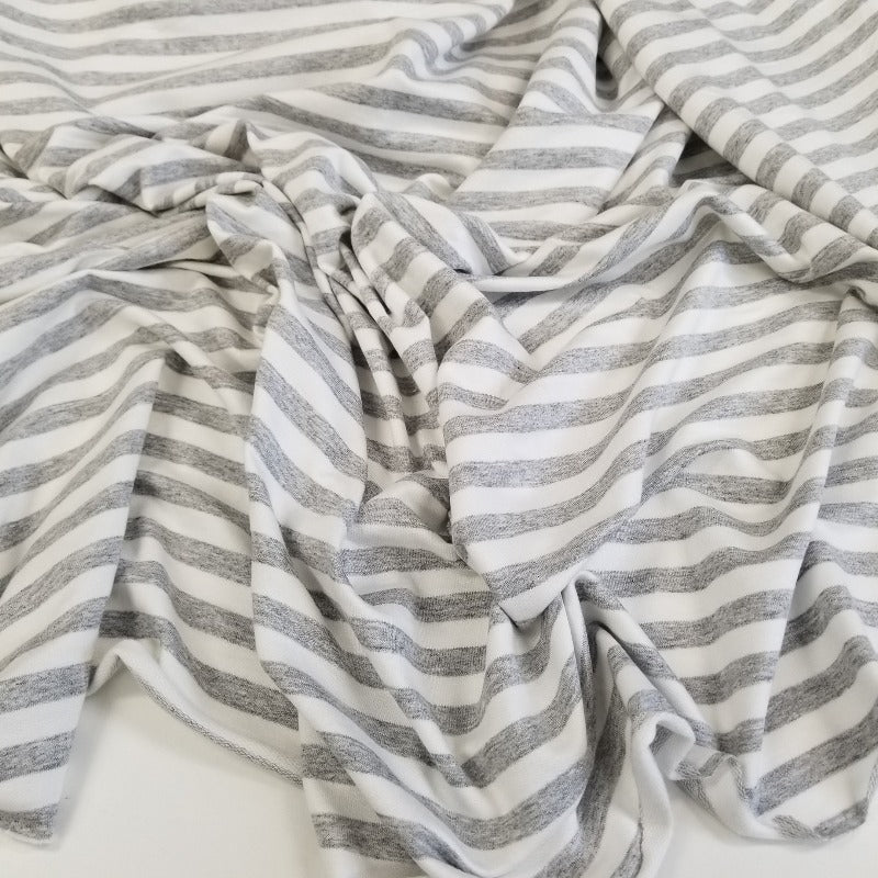 Designer Deadstock Stripe French Terry Knit-Sold By the yard