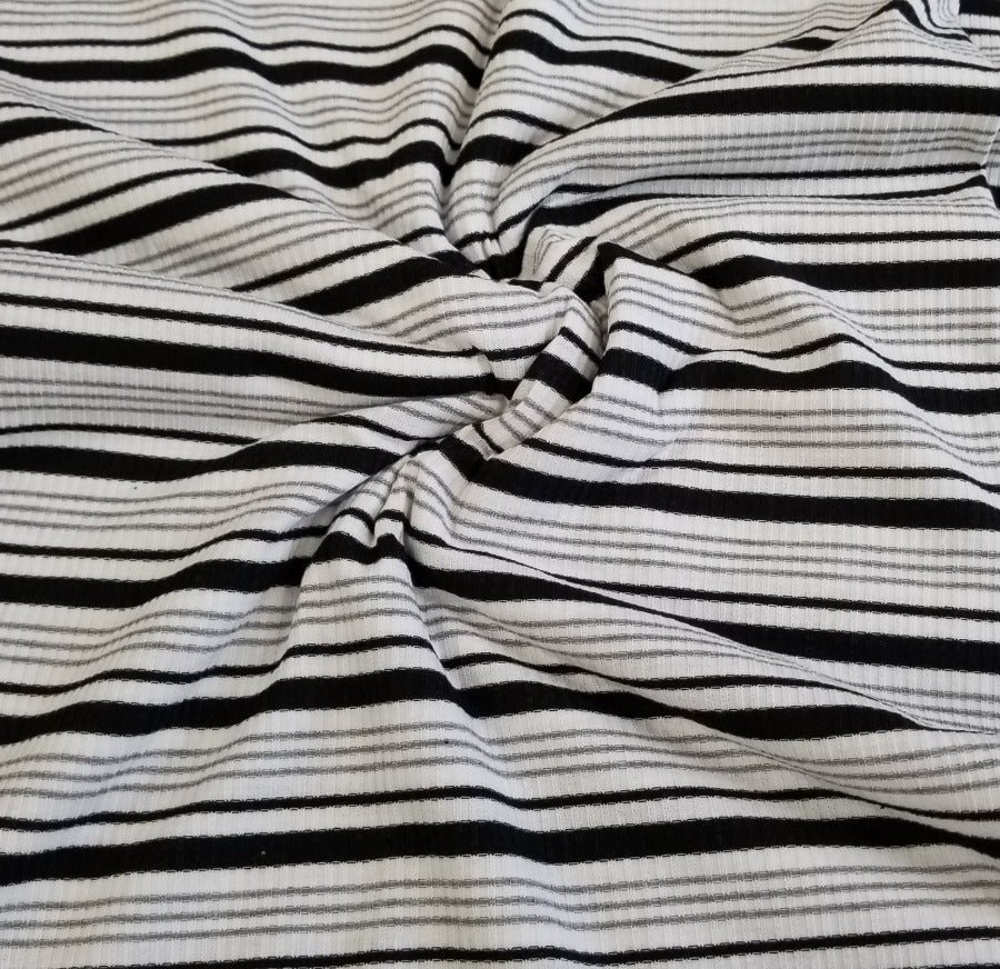 End of Bolt: 4 yards of Designer Venice White & Black Multi-Stripe Rib Knit-Remnant