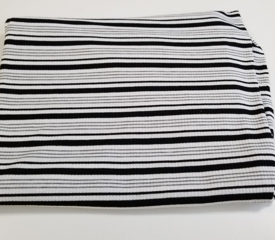 Designer Venice White & Black Multi-Stripe Rib Knit- By the yard