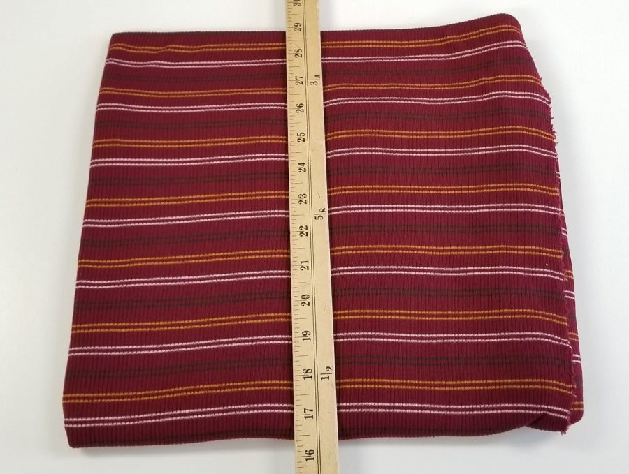 Designer: Huntington Burgundy Stripe Rib Knit- By the yard