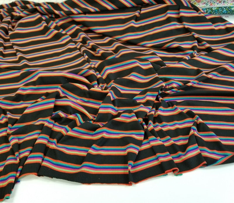 Designer Black & Multi-Stripe Escondido Stripe Rib Knit- By the yard