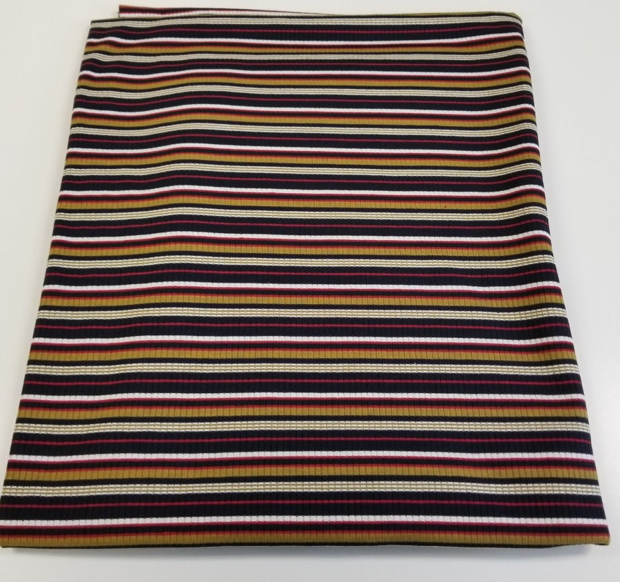 End of bolt: 2 yards of Designer Black & Mustard Sunset Stripe Rib Knit- remnant