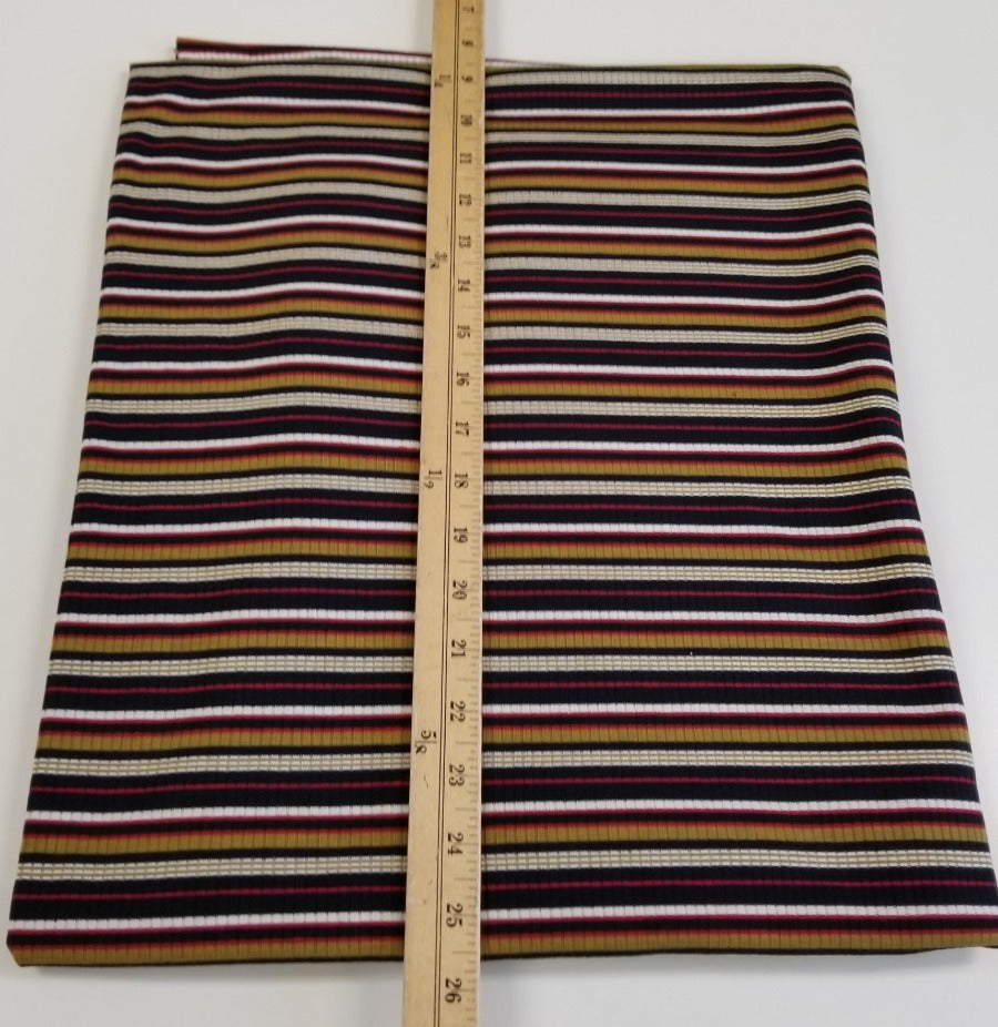 End of bolt: 2-7/8th yards of Designer Black & Mustard Sunset Stripe Rib Knit- remnant