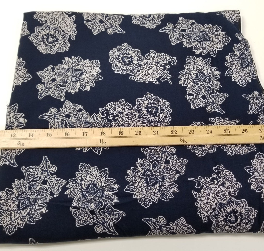 End of Bolt: 2 yards of Rayon Challis Iver Navy Woven- Remnant