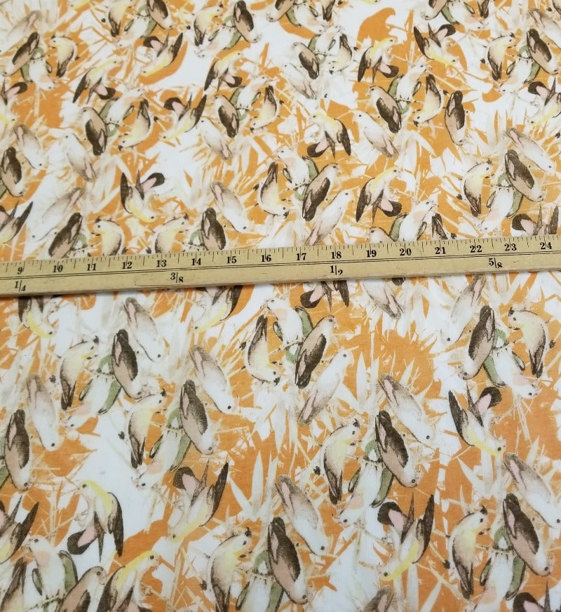 Designer Deadstock Orange Perched Birdies Cotton Voile -By the yard