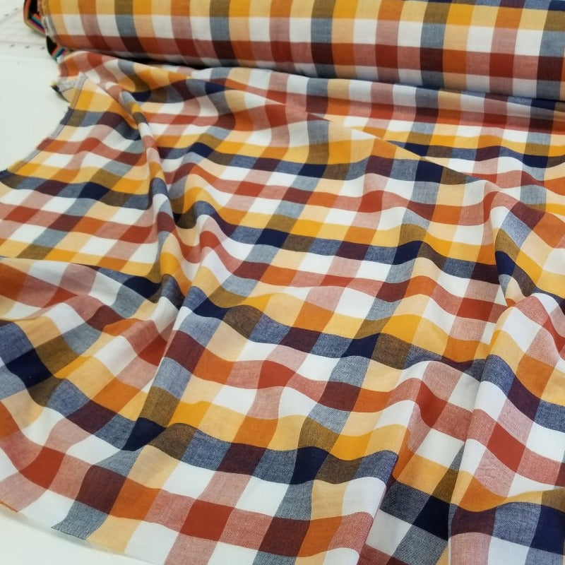 Designer Deadstock Orange Checkered Plaid Cotton Voile Woven- By the yard