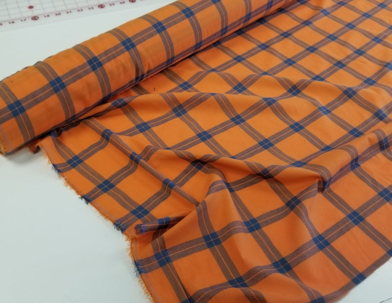 End of Bolt: 2-3/8th yards of Designer Deadstock Orange & Navy Plaid Cotton Voile Woven- remnant