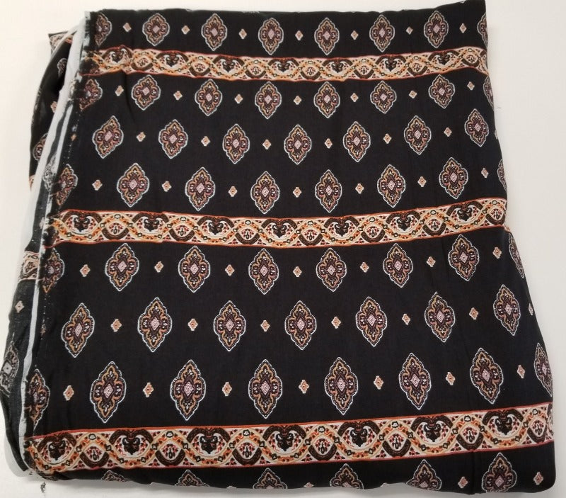 End of BOlt: 2.5 yards of Marla Black Rayon Challis Woven- Remnant