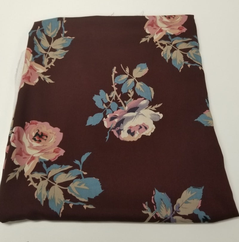 Designer Deadstock Chocolate Roses Rayon Challis Woven- By the yard