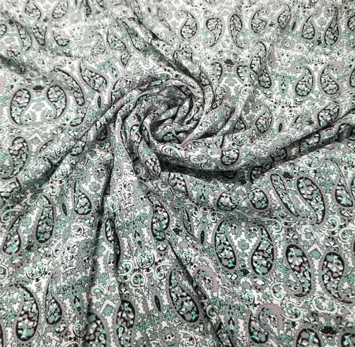 Designer Deadstock Mint & Grey Paisley Rayon Challis Woven- By the yard