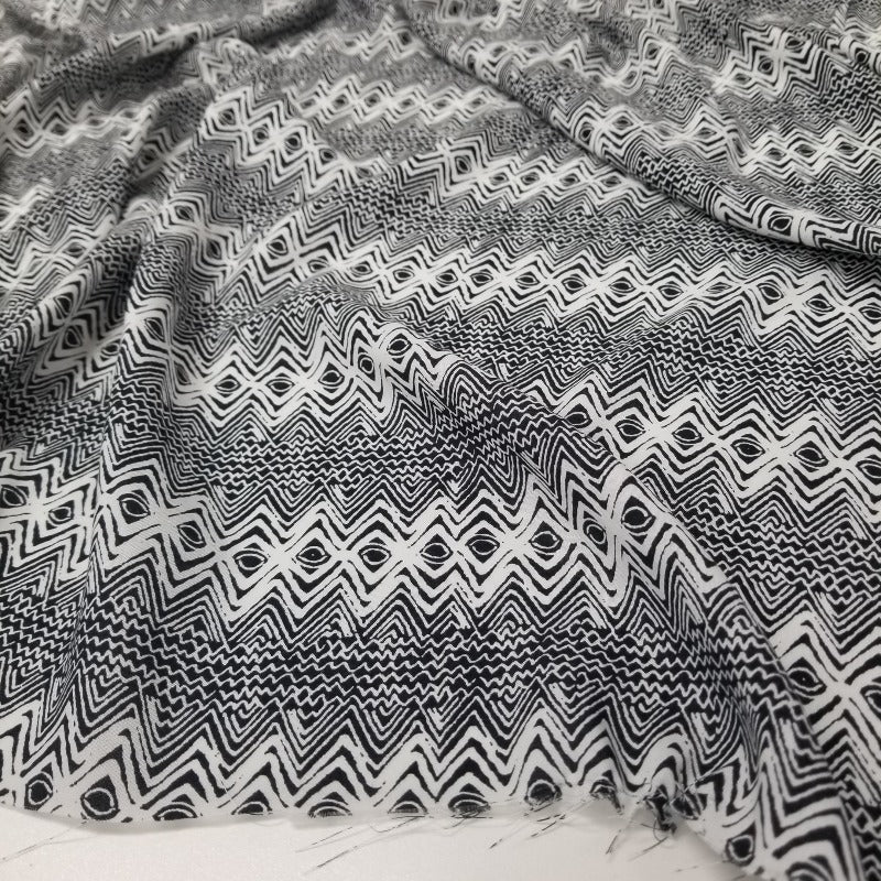 End of Bolt: 2.5 yards of Designer Deadstock Abstract Geo Rayon Challis Woven- remnant