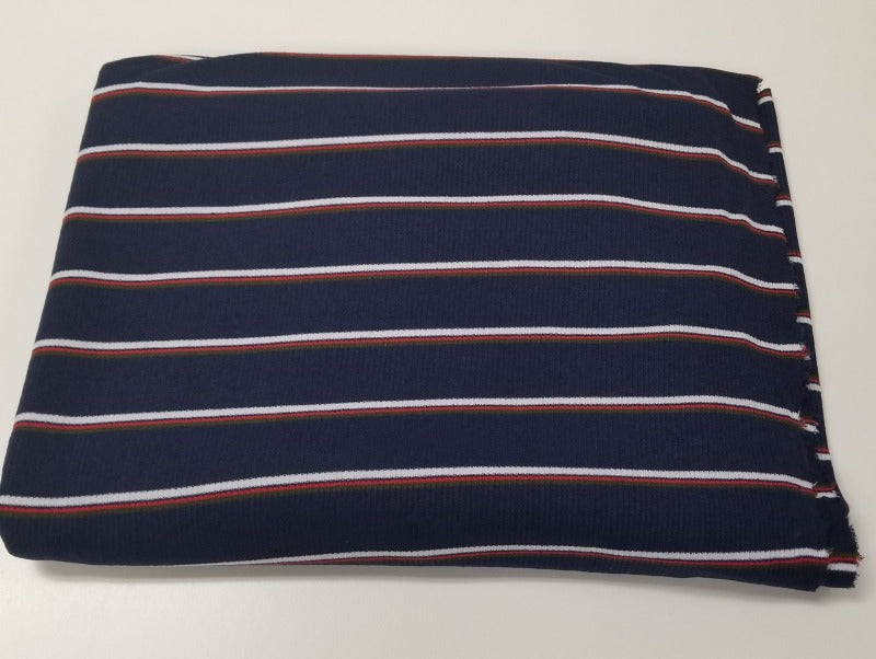 Designer Deadstock Navy Impala Rib Stripe Knit- By the yard