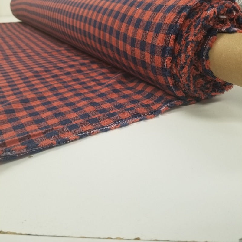 Designer Deadstock Checkered Navy and Clay Hue Cotton Twill Weave Yarn Dyed Woven- By the yard
