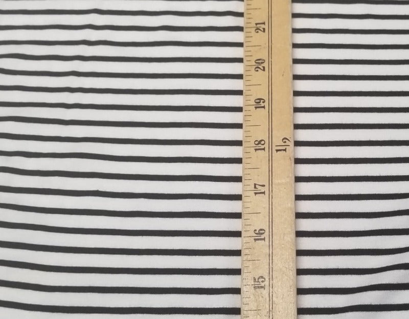 Designer Deadstock Vivia Black and White Micro Stripe Rayon Spandex Knit- By the yard