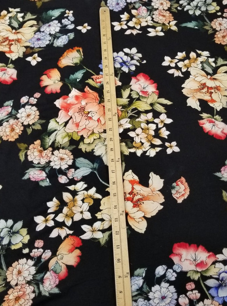 Designer Deadstock Rayon Spandex Floral Garden Knit- By the yard