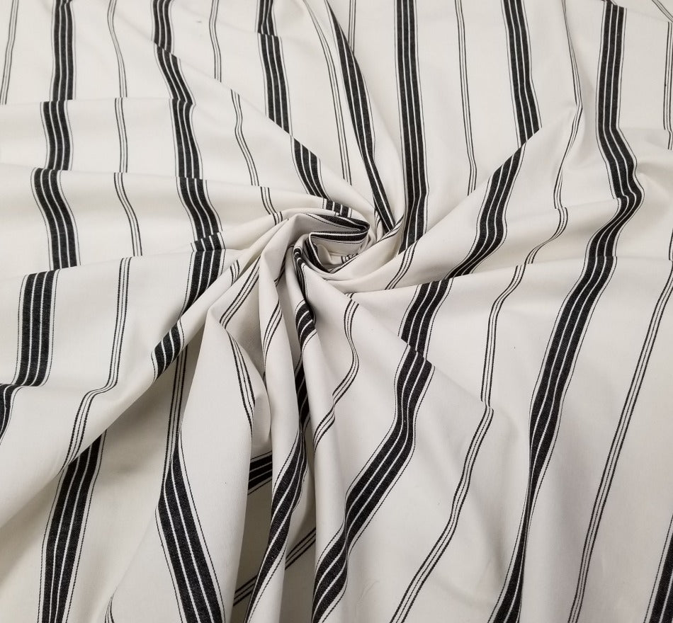 Designer Deadstock Black & Ivory Stripe Cotton Spandex Twill- by the yard