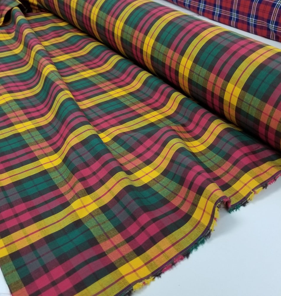 End of Bolt: 2 yards of Designer Deadstock Fall Plaid Cotton Shirting Woven-Remnant