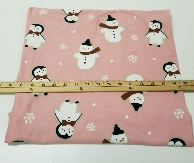 End of Bolt: 2 yards of Double Brushed Poly Snowman Knit- Remnant