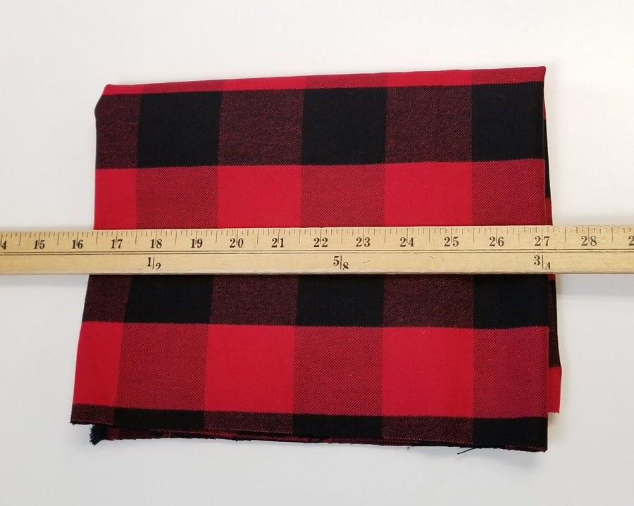 Designer Deadstock Buffalo Plaid  Flannel Shirting Woven 5.6 oz - By the yard